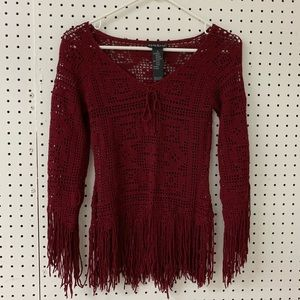 Maroon fringe knit blouse